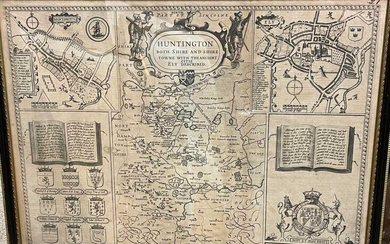 John Speed, Huntington Both Shire and Shire Towne with the Ancient Citie Ely Described, engraved map