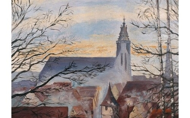 K… Kuhn (20th Century) Continental. A Village Church, Oil on...