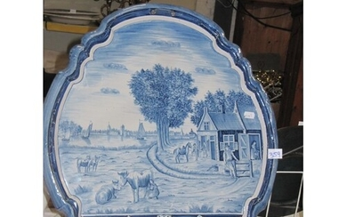 Large Blue & White Delpht Wall Plaque - At fault, has age re...