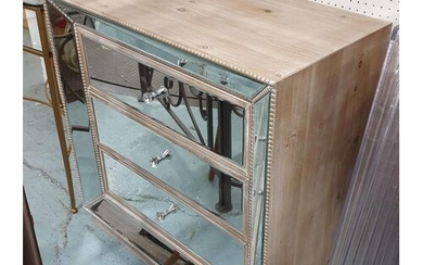 MIRRORED CHEST OF DRAWERS, 80cm x 41cm x 81cm.