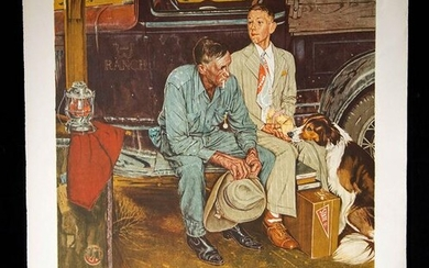 """Norman Rockwell Lithograph - """"Breaking Home Ties"""" 1970s"""