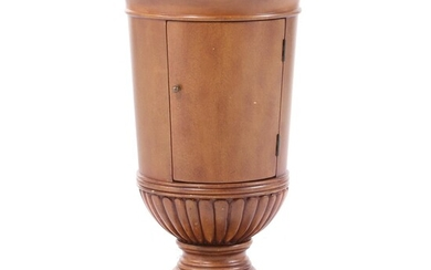 Oriental Accent Italian Style Painted Wood and Marble Top Storage End Table