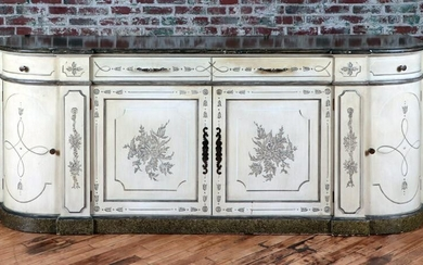 PAINTED DECORATED SIDEBOARD CIRCA 1950