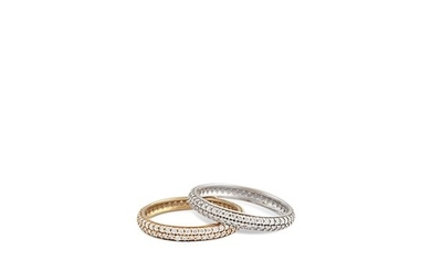 PAIR OF DIAMOND AND GOLD RINGS