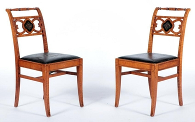 PAIR TIGER MAPLE & PAINTED SIDE CHAIRS