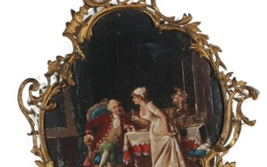 NOT SOLD. Painter unknown, circa 1900: Rococo interior. Unsigned. Painted print on metal in a...