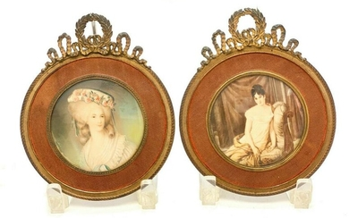 Pair Continental Mini Portrait of a Beauties, 19th C
