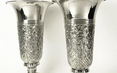 Pair Nickel-Plated Vases, Early 20th Century