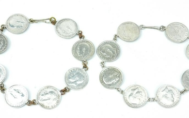 Pair of Antique English Silver Coin Bracelets