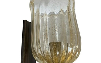 Pair of Large Murano Sconces with Gold Fleck Glass