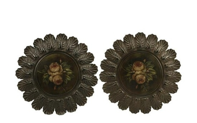 Pair of Spanish Style Painted Tole Wall Plaques.