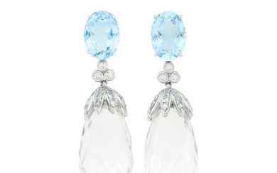 Pair of White Gold, Blue Topaz, Diamond and Rock Crystal Briolette Pendant-Earclips