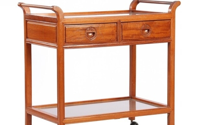 (-), Rosewood tea trolley with 2 drawers and...