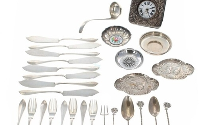 Selected silver, white metal and plated items, including sma...