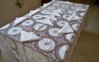 Spectacular !! pure linen tablecloth x 12 with hand embroidery - 175 x 270 cm - Linen