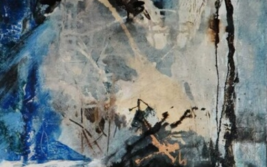 Su Ling Wang(Taiwanese Contemporary) Abstract with Wine Glass