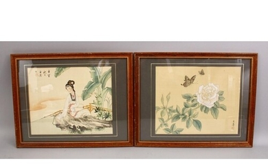 TWO GOOD CHINESE PAINTINGS ON SILK, one painting depicting n...