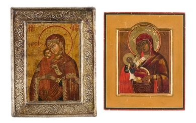 TWO SMALL ICONS SHOWING IMAGES OF THE MOTHER OF GOD...