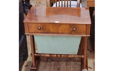 Victorian mahogany sewing table having frieze drawer above a...
