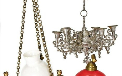 ceiling lamp, tin, 3-armed, mounted glass beads