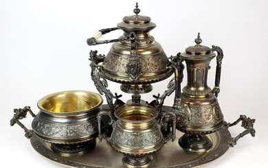 19th C. 6 Pc. French Silver Tea and Coffee Service