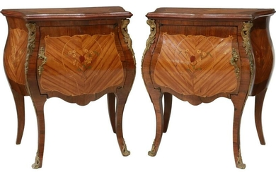 (2) LOUIS XV STYLE MARQUETRY BEDSIDE CABINETS