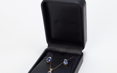 2PC 14K Gold Sapphire Necklace & Earring Set