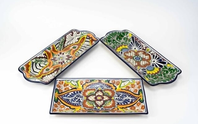 3 Hand Painted Mexiacan Ceramic Trays
