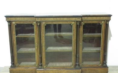 A 19th Century inlaid burr-walnut breakfront Cabinet with gi...