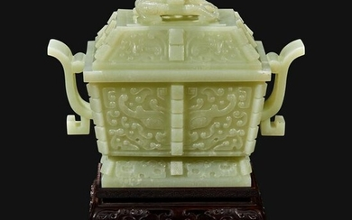 A Chinese carved pale celadon jade censer and cover