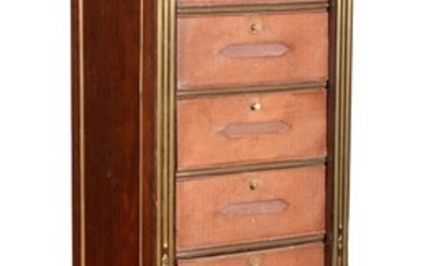 A French gilt metal mounted mahogany and leather mounted tall chest/ document cabinet or semannier