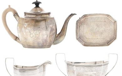 A George III silver tea service, with engraved border and re...