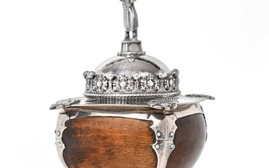 A George V Silver Mounted Wood Cup and Cover,...