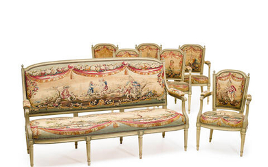 A LOUIS XVI STYLE NEEDLEPOINT UPHOLSTERED PAINTED WOOD FOUR PIECE PARLOR SUITE