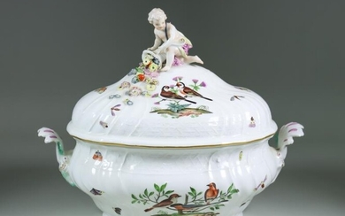 A Meissen Porcelain Two-Handled Tureen and Cover, 18th Century,...