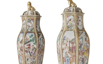 A PAIR OF CHINESE EXPORT MANDARIN PALETTE HEXAGONAL VASES AND COVERS