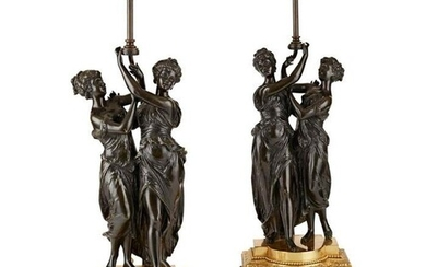 A PAIR OF LATE 19TH / EARLY 20TH CENTURY FRENCH BRONZE FIGUR...