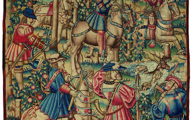 A PASTORAL CHASSE DE CERF TAPESTRY