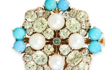 A PEARL, CHRYSOBERYL, EMERALD AND TURQUOISE BROOCH in