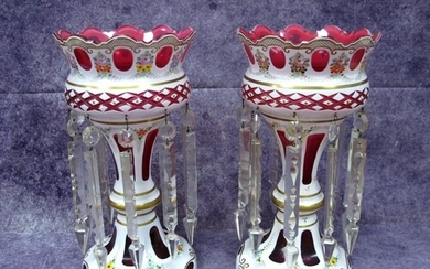 A Pair of Mid XX Century Bohemian Table Lustres, the cranber...