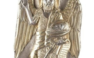 A SILVER PARCEL-GILT FRAGMENT SHOWING ST. JOHN THE