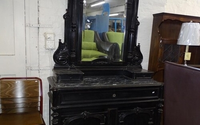 A Victorian ebonised Aesthetic secretaire cabinet, with rais...
