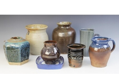 A collection of studio pottery vessels, to include; a salt g...