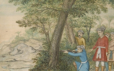 A hunting scene, Company School, India, mid- to late-19th century, opaque pigments on paper heightened with gilt, on a river bank with one member of the hunting party kneeling and raising his rifle, four men behind watch him, mounted, glazed and...