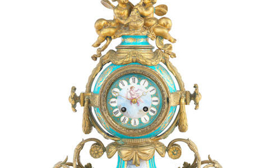 A late 19th century French gilt bronze mounted Sèvres-style porcelain figural mantel clock the movement stamped Raingo Frères