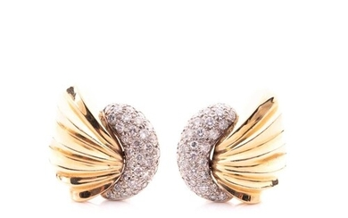 A pair of 14ct yellow gold and diamond shell-shaped earrings...