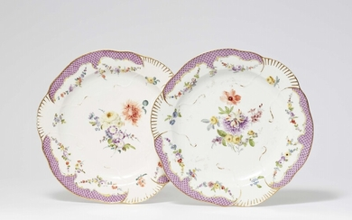 """A pair of Meissen porcelain dinner plates from the """"Schwerin Service"""""""