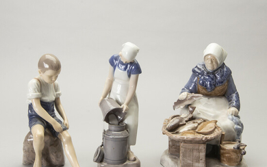 A set of three porcelain figurines Bing & Gröndahl later part of the 20th century