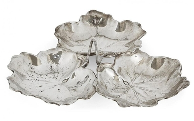A silver triple leaf dish by Reed & Barton, designed with three leaf-shaped bowls to a loop handle modelled as a stem, stamped sterling, approx. 22cm dia., approx. weight 8.3oz