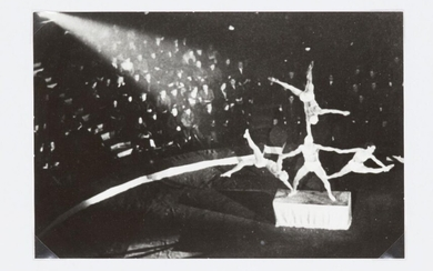 Alexander Rodchenko, Russian 1891-1956- Circus Acrobats, 1937; gelatin silver print, printed later, bears artists inkstamp verso, titled and dated in pencil by an unknown hand verso, sheet 15.3 x 22.9cm (unframed)